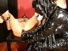 Man in bondage anally fingered and toyed tubes