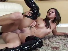 Thigh high latex boots on hot fuck slut tubes