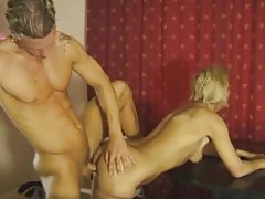 Mature blonde pounded on her dining room table tubes