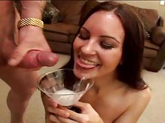 Guys cum into martini glass for slut tubes