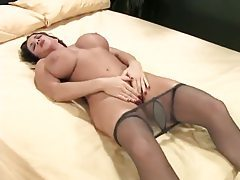 Busty milf solo tease in sexy pantyhose tubes