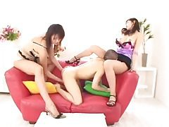 Tiny Japanese guy with two total babes tubes