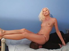 Blonde sits on his face with shaved pussy tubes