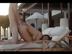 Erotic sex at sunset with brunette tubes