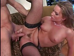 Flower Tucci in fishnets has anal sex tubes