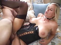 Blonde in wicked hot leather corset fucked tubes