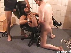 Amateur girl dominated by 2 guys in the cellar tubes