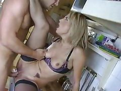 Sexy with a gorgeous Euro in kitchen tubes