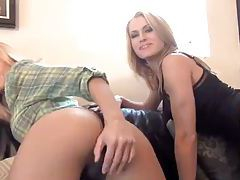 Blondes in skirts give jerk off instruction tubes
