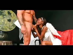 Black girl in angel lingerie loves hard sex tubes