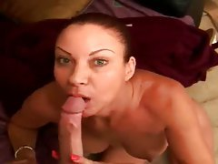 Milf on her knees sucks big cock tubes