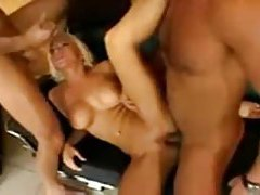 Blonde dick slut in a long DP video tubes