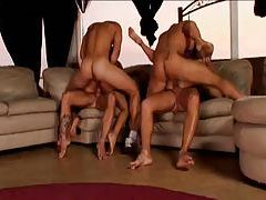 Four guys and two girls in a DP scene tubes