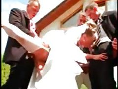 Gangbang of a hot bride with pissing tube