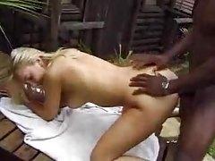 Slim white girl has black anal sex outdoors tubes