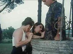 Outdoor retro threesome has hardcore sex tubes