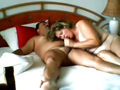 Fat wife blows him and rides him tubes