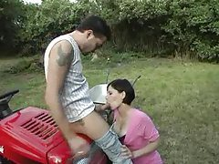Girl in a pink dress sucks dick outdoors tubes