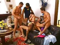 Euro brunette in fun gangbang with facials tubes