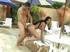 Ass fucking with tgirl by the pool tubes