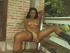 Outdoors the shemale strips and strokes tubes