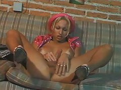 Solo blonde shemale tease and stroke tubes