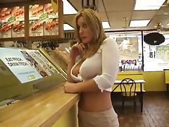 Chick flashing at restaurant and gas station tubes