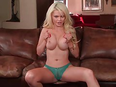Full striptease with a blonde centerfold tubes