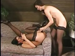 Ladies in stockings strapon banging tubes