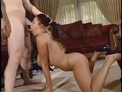 Natural hottie dances for him and gobbles cock tubes