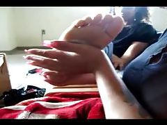 Amateur girl gets a foot massage tubes