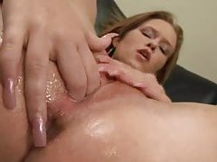 Cutie has two fingers in super wet pussy tubes
