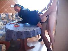 Horny milf in business clothes boned in kitchen tubes