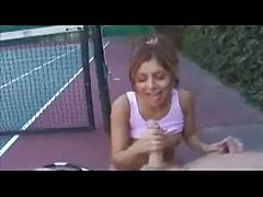 Tennis girl gives handjob on the court tubes