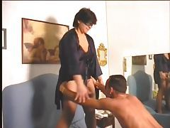 Chubby wife strokes him and fucks him with strapon tubes