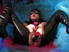 Latex girl toys both holes tubes
