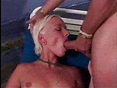 Blue satin panties on slut doing face fuck tubes
