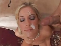 Hot blonde takes two messy facials tubes