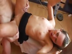Tight girl fucked on a weight bench tubes