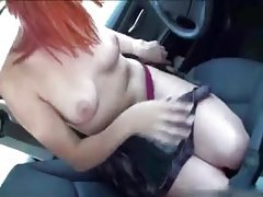 Amateur redhead suck and fuck in car tubes