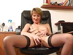 Milf in office with dildo for cunt tubes