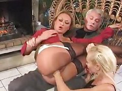 Girl in his lap gets fisted by a lesbian tubes