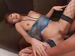 Japanese girl in fishnets fucked from behind tubes