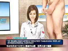 Doing the news while guys fuck her face and cum on her tubes