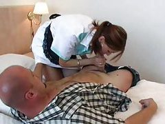 She cleans the room and then cleans his cock tubes