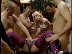 Two girls volunteer for wild gangbang tubes