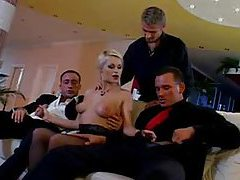 Horny and glamorous blonde is gangbanged tubes