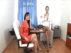 An office threesome with mega hot babes tubes