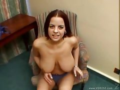 Redhead with big boobs does titjob tubes