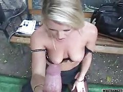 Blonde in black lace top stockings fucked hard tubes